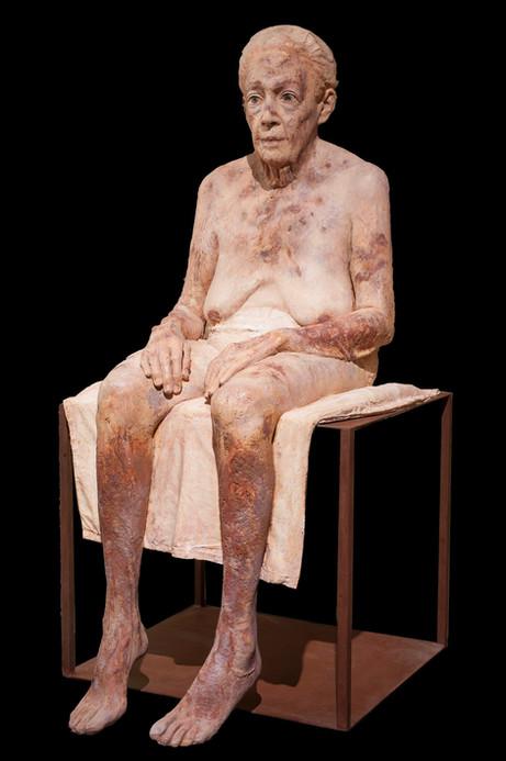 Mi abuela, 2014-19, clay, pigments, and iron, 125 x 60 x 70 cm