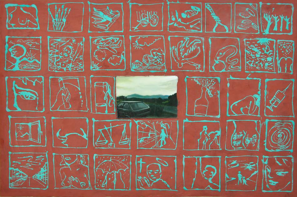 Carlos Madrigal, Atardecer, 2002, técnica mixta óleo y cera sobre tabla, 80x120 cm