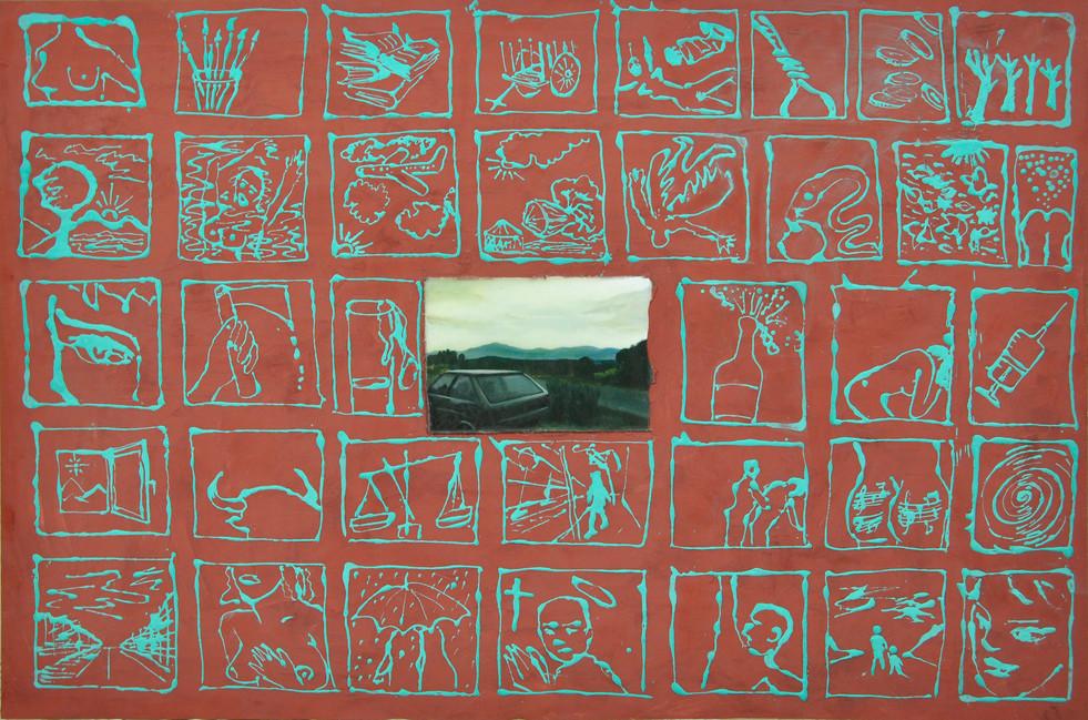 Carlos Madrigal, Atardecer, 2002, técnica mixta, óleo y cera sobre lienzo, 80x120cm