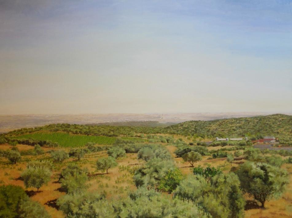 Pablo Carnero, El Guijo, óleo sobre lienzo sobre tabla, 146 x 195 cm