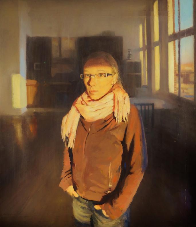 Lucía con luz de tarde, 2013, acrílico sobre lienzo, 113 x 100 cm