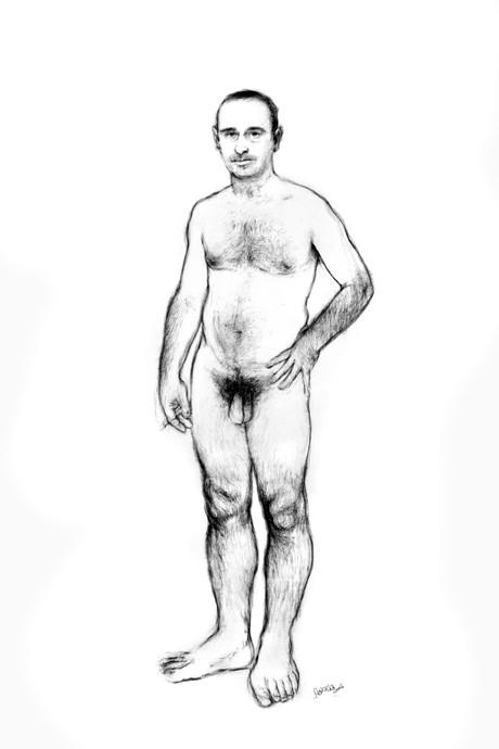 Desnudo, 2005, dibujo, lápiz y pastel sobre papel Canson, tamaño natural.