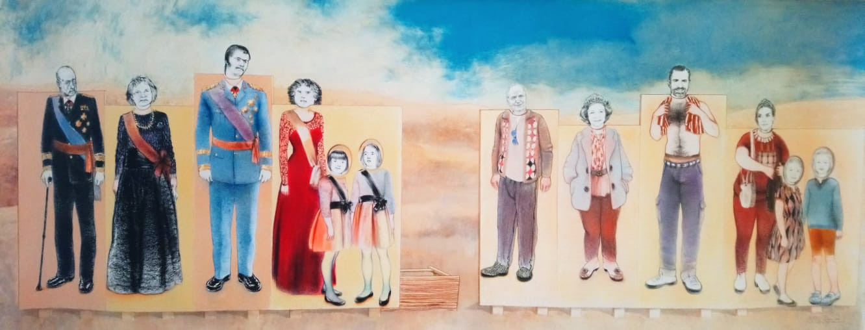 Foto-feria familiar, 2015, lápiz y pastel sobre papel Canson, 66 x 166 cm