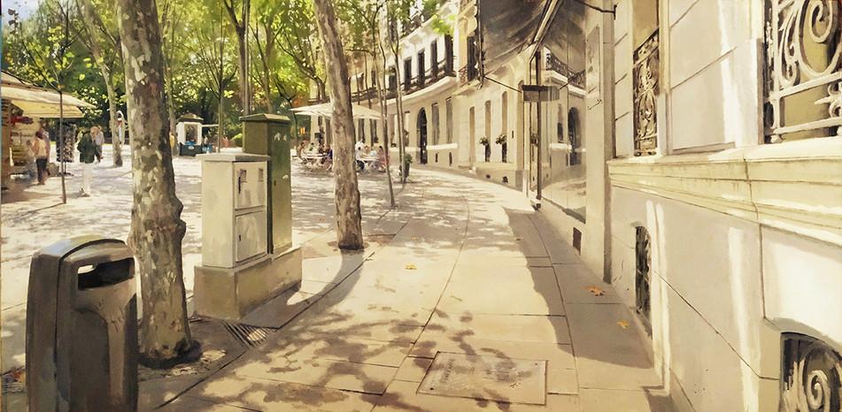 Alberto martín Giraldo,Plaza de la Independencia, acrílico sobre tela, 113 x 220 cm