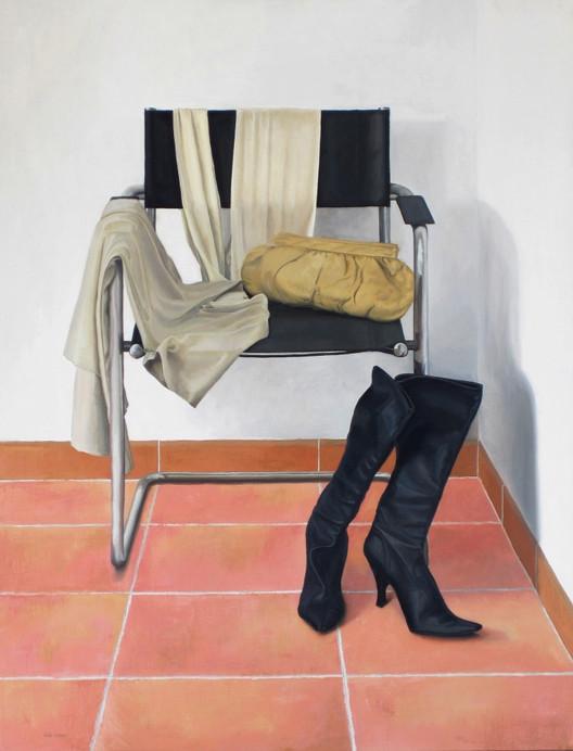 Rincón del dormitorio, oil on canvas on wood, 133 x 102 cm