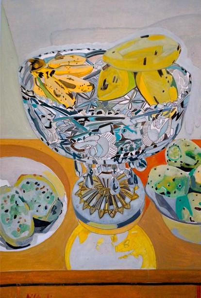 Bodegón de frutas, 2015, óleo al agua, 21 x 29 cm