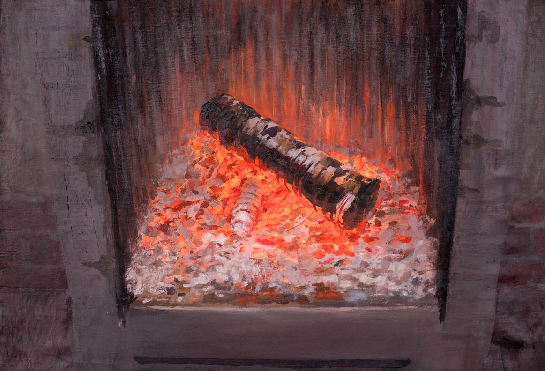 Fuego 1, 2018, acrílico sobre lienzo, 50 x 65 cm