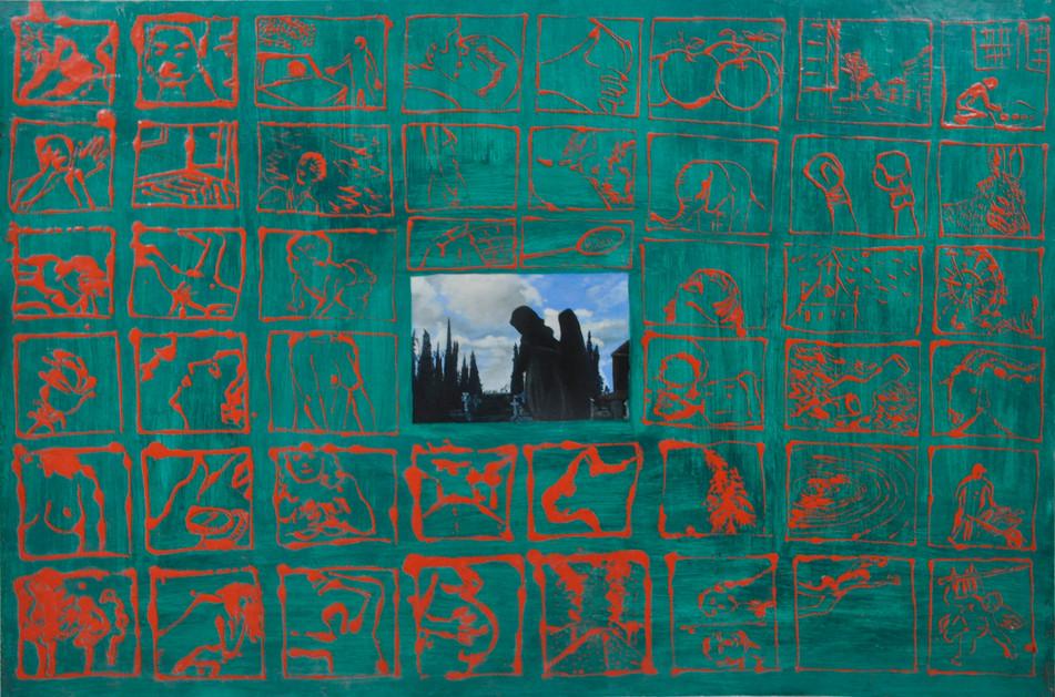 Carlos Madrigal, Sacramental, 2001, técnica mixta óleo y cera sobre tabla, 82 x 132cm
