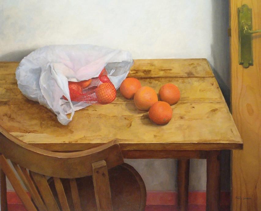 Bolsa con naranjas, oil on canvas on wood, 62 x 75 cm