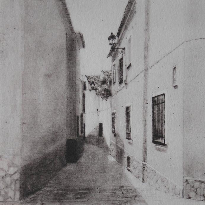 Callejón del toro, lithography, 10 x 10 cm