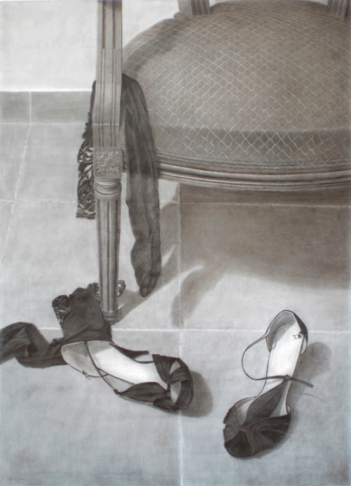Las medias, pencil on cardboard, 74 x 54 cm