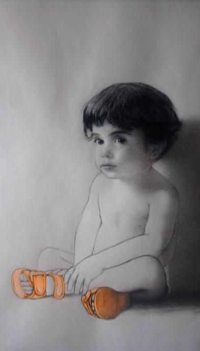 Retrato, 2018, lápiz y pastel sobre papel Canson, 90 X 90 cm