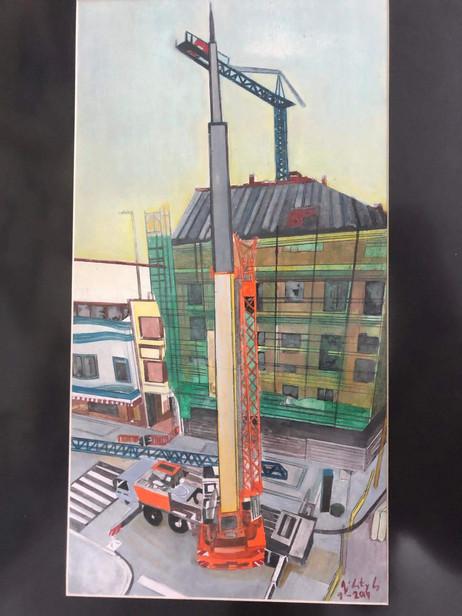 La grúa, 2018, técnica mixta papel,45 x 90 cm