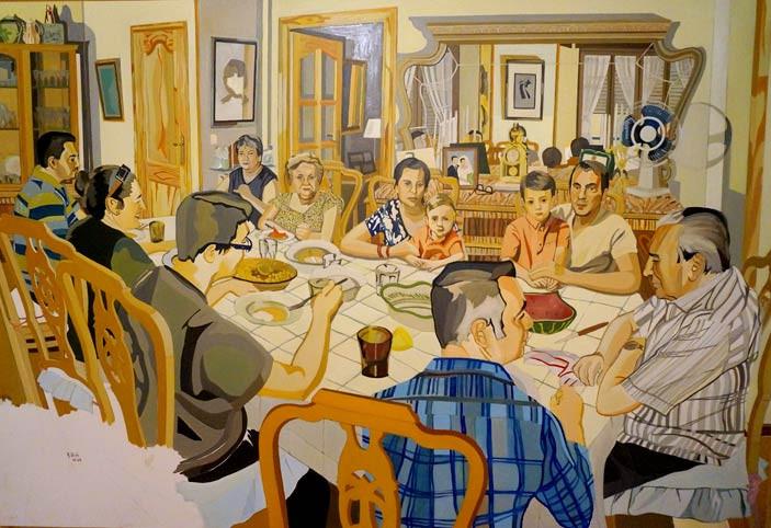 El almuerzo, 2014, óleo sobre lienzo, 160 x 145 cm