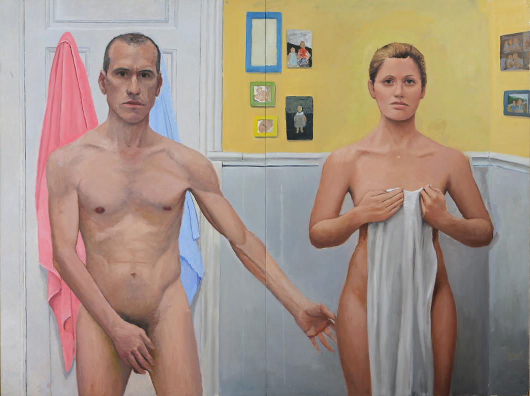 Pareja-Matrimonio, 2012, oil on wood, 122 x 164 cm