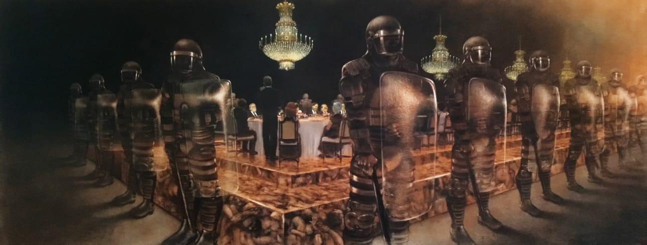 La cena de los idiotas, 2014-15, lápiz y pastel sobre papel Canson 60 x 150 cm