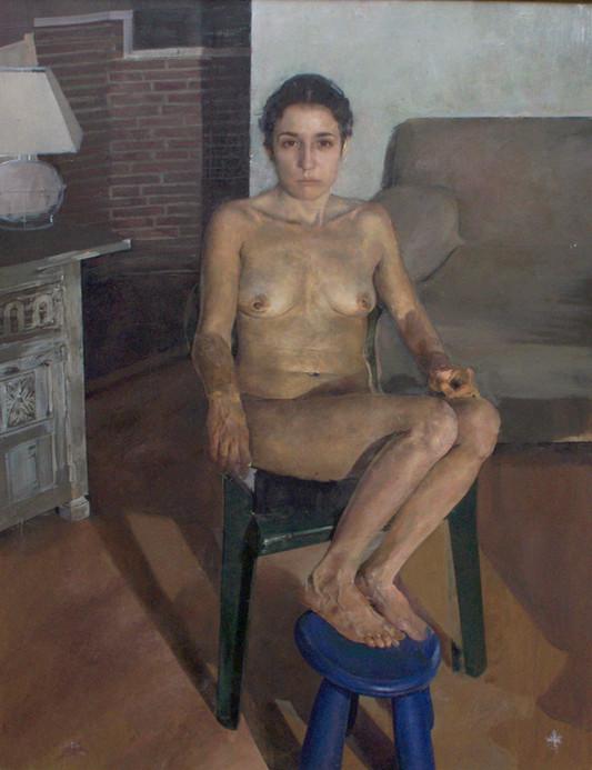 Mujer sentada, 2013,oil on canvas, 146 x 114 cm