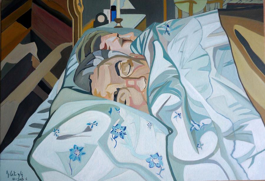 Personajes durmiendo, 2016, óleo sobre lienzo, 50 x 73 cm