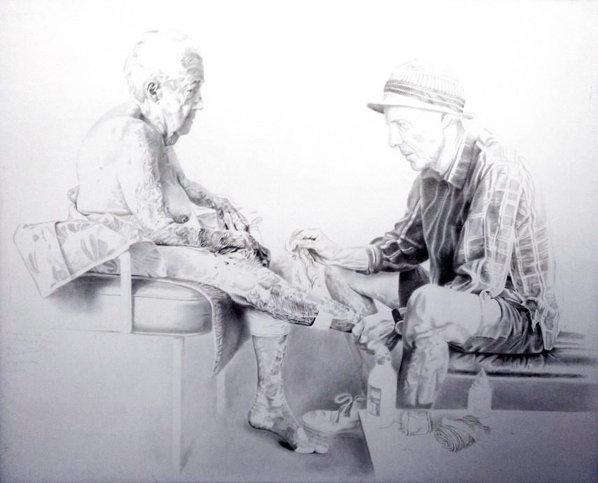 Pedro Quesada, drawing Abuela y Padre 2, 2018, graphite on paper on wood, 150 x 200 cm