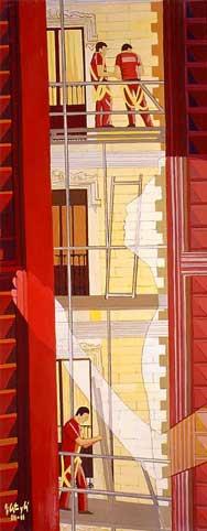 El andamiaje, 2001, óleo sobre tabla, 120 x 40 cm.