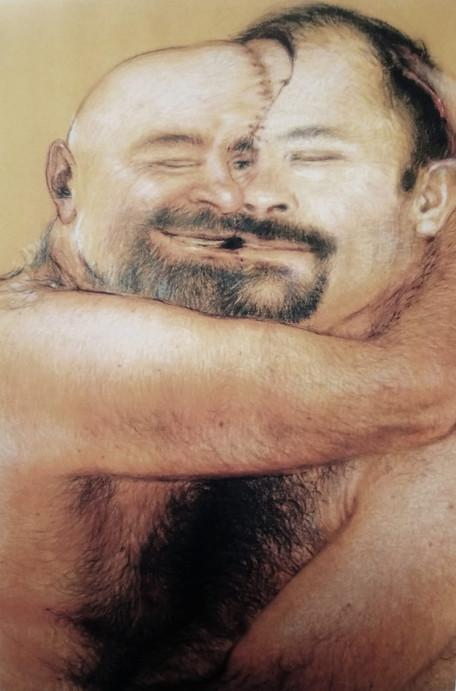 Je t'aime, moi non plus, 2012, fragmento, lápiz y pastel sobre papel Canson, 130 x 230 cm