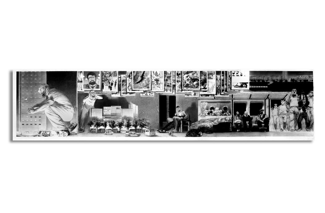Manuel revisitado (El reencuentro), 2004, lápiz y pastel sobre papel Schoeler, 40 x 170 cm.