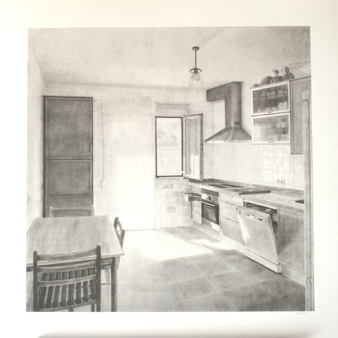 La cocina, lithography, mancha 58x58, papel 70 x 70 cm
