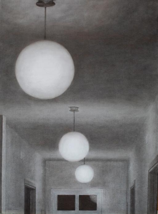Pasillo de noche, pencil on paper on wood, 61 x 46 cm