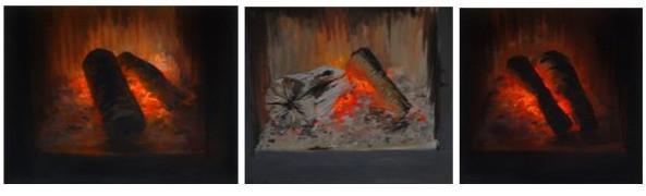 Montaje 3 Fuegos, 2018, acrílico sobre lienzo, varias medidas