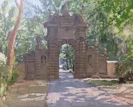 Ignacio Escobar, Entrada a la Villa Falconieri, óleo sobre lienzo