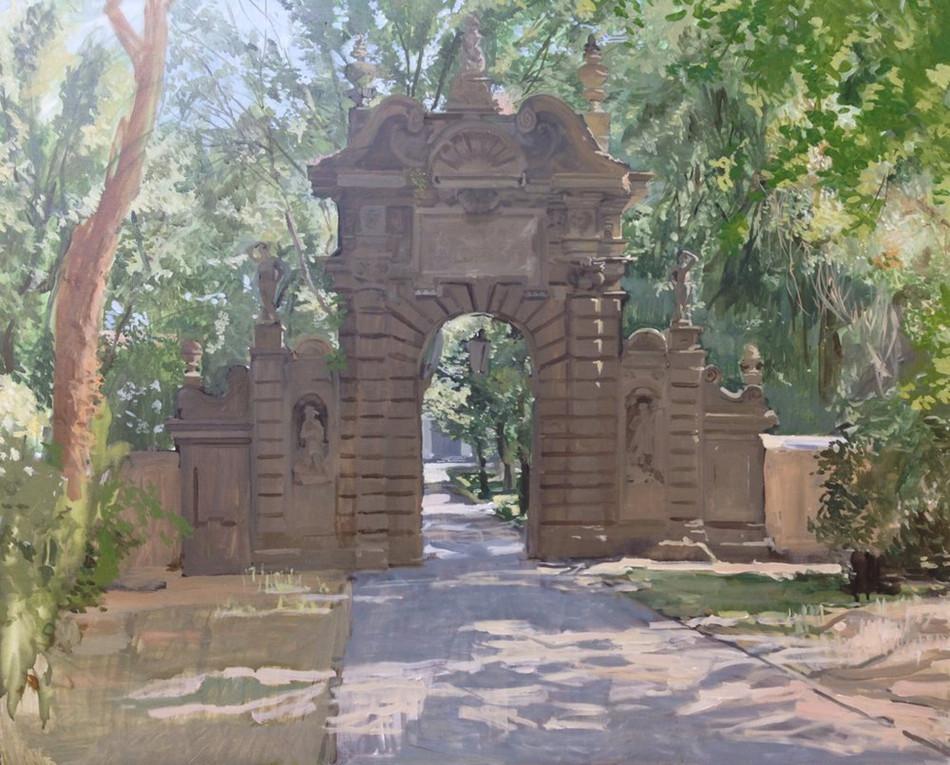 Entrada de los leones en la Villa Falconieri. Verano de