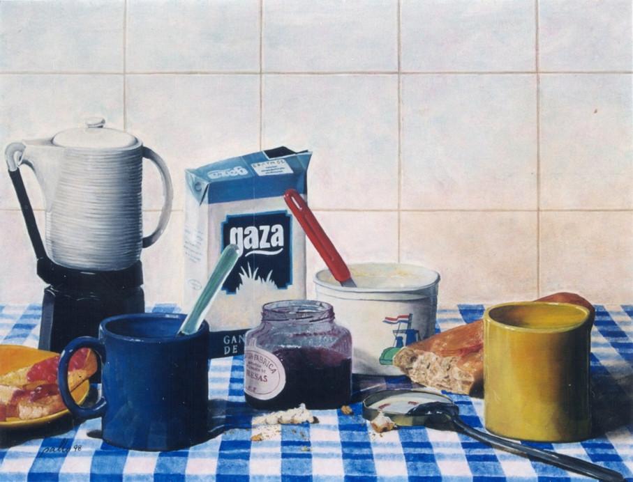 El desayuno, oil on wood, 46 x 60 cm