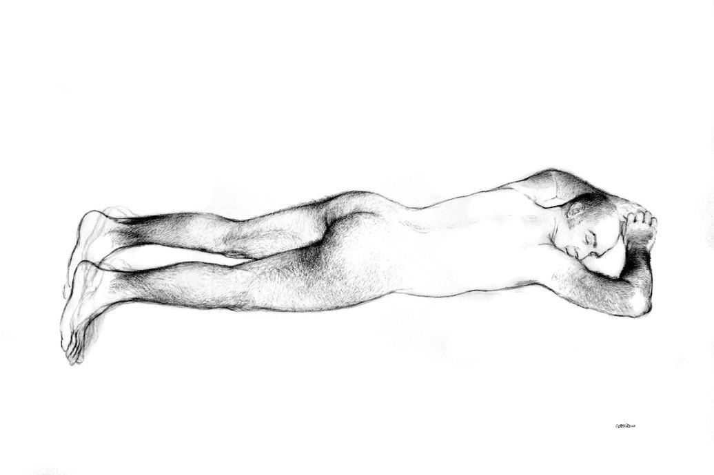 Desnudo tumbado, 2005, Lápiz y pastel sobre papel Canson, tamaño natural