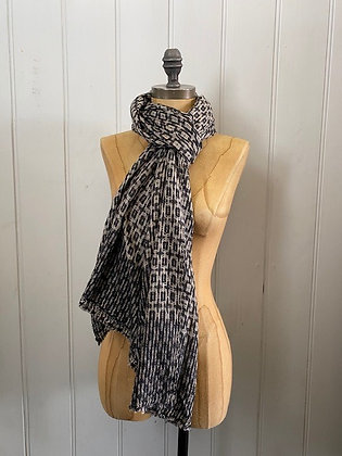 Black and Cream Large Scarf