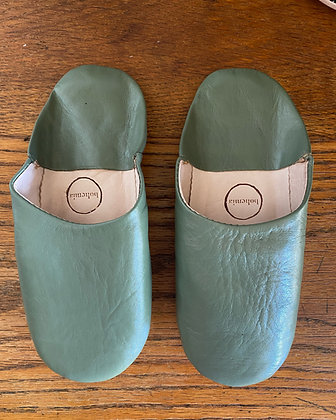 Olive Leather Slippers