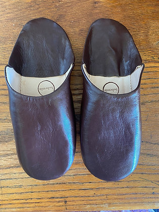 Chocolate Leather Slippers