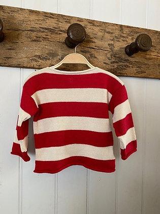 Red and Cream Stripe Jumper