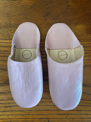 Vintage Pink Leather Slippers