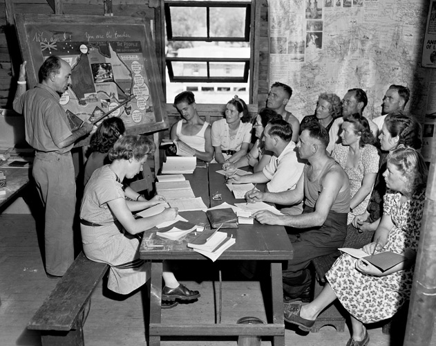 English classes in migrant camps