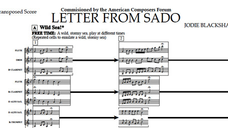 Compose with music concepts in rehearsal using 'Letter from Sado'.