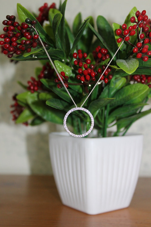 925 Sterling Silver Halo Pendant