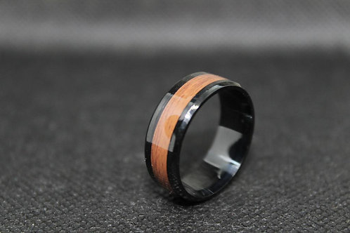 Stainless Steel Retro Wood Grain Band Ring 8MM