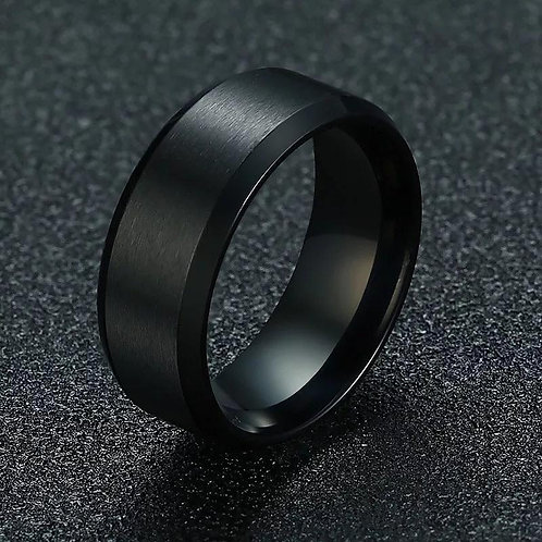 Stainless Steel Beveled Edge Band Ring 8MM