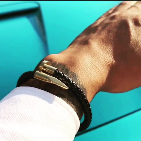 Stainless steel Men's Nail  Leather Bracelet