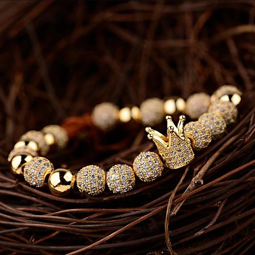 Men's Luxury Gold Crown Bracelet 8MM