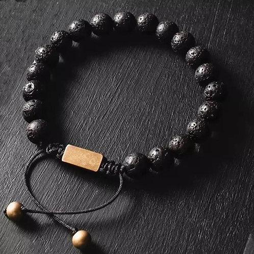 Men's Luxury Natural Lava Stone Bead Bracelet