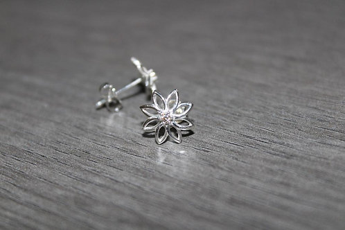 925 Sterling Silver Flowers Stud Earrings