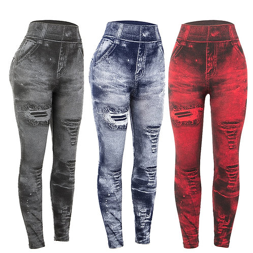 Imitation Distressed Denim Jeans Leggings High Waist Slim