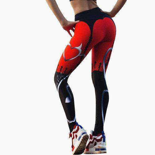 Heart Print Leggings Women Red Black Patchwork
