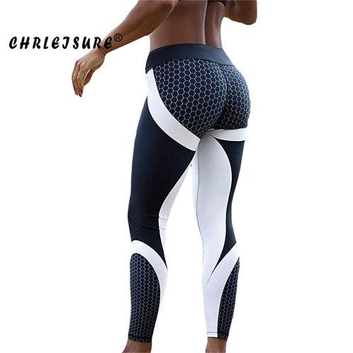 Fitness Legging Geometric Honeycomb Digital Printing
